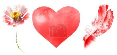 Photo pour Natural watercolor set, isolated on white - image libre de droit