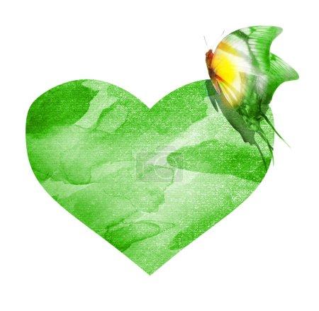 Photo pour Watercolor butterfly with heart - image libre de droit