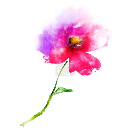 Photo for Watercolor flower isolated on white. Silhouette - Royalty Free Image