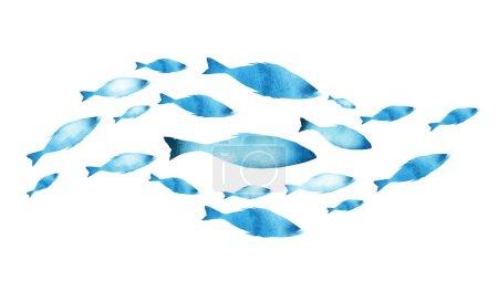 Foto de Silhouettes de grupos de peces sobre blanco. Color del agua - Imagen libre de derechos