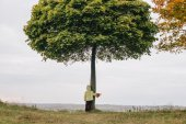 Little girl in the autumn park. hugging tree