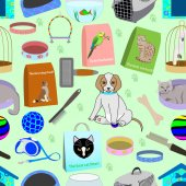 Seamless pattern for a pet shop consisting of 22 different elements