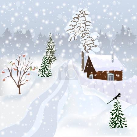 Russian winter landscape for postcard, poster, album etc.