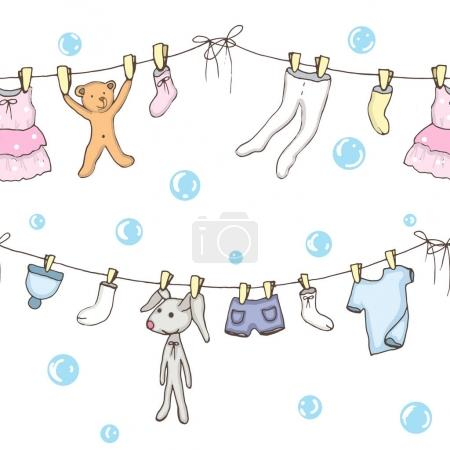 Illustration for Seamless backgroung of washed baby clothes in vector - Royalty Free Image
