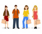 Man and three women with bags and backpack vector