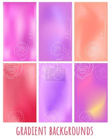 Set of mesh soft Gradient vector with rose for greeting card, website, mobile