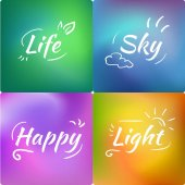 Set of mesh Gradient abstract creative vector background Bright colors: green blue yellow and violet Backdrop with words:  Life Sky Happy Light
