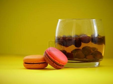 coffee cherries tea and macaroons