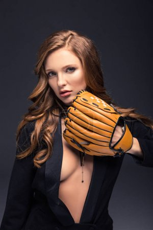 Photo for Sexy woman covering with baseball mitt isolated on gray - Royalty Free Image