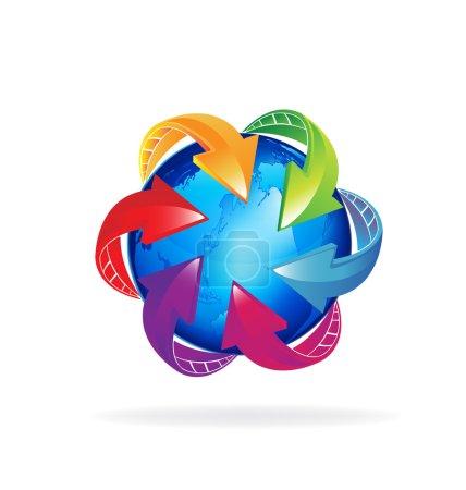 Illustration pour Logo monde avec des flèches. Notion de connexions bourses - image libre de droit