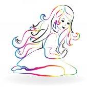 Little girl praying colorful image logo
