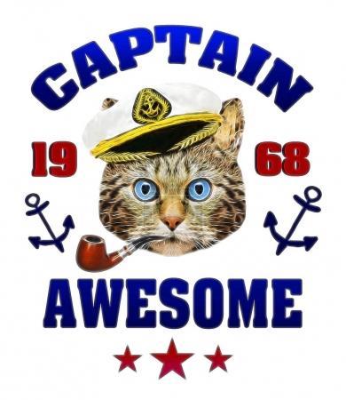 Photo pour Adorable chat impression avec lettrage Captain awesome. Graphique de T-shirt avec le personnage de dessin animé. - image libre de droit