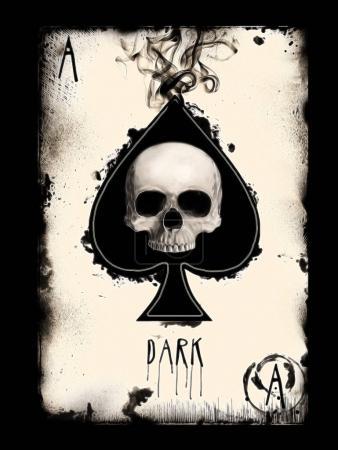 Photo pour Crâne humain isolé sur fond noir de la carte à jouer. T-Shirt graphique - image libre de droit