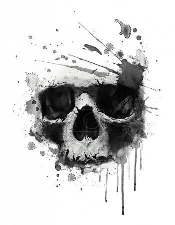 Photo pour Effrayante empreinte de crâne humain. T-shirt imprimé - image libre de droit