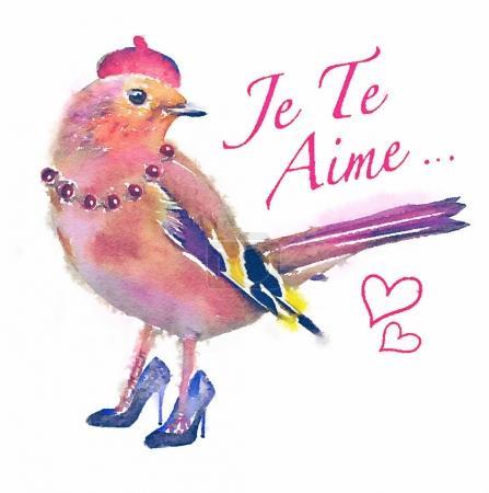 Invitation card with bright watercolor bird