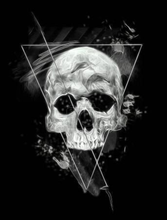 Photo for Dark skull banner. Design for t-shirt print with skull and textures - Royalty Free Image