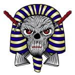 Pharaoh Skull print. T-shirt Print. Scary human fa...