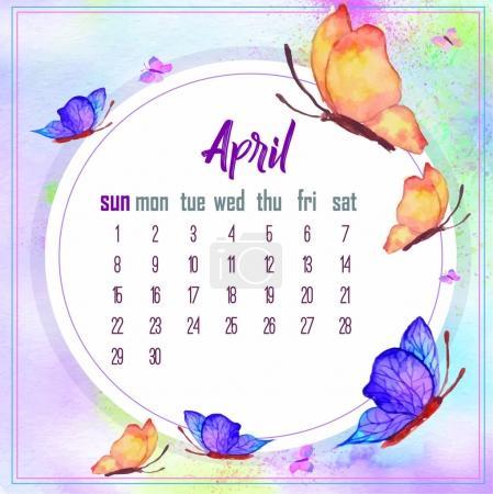 april 2018. Desk Calendar for 2018 Year.