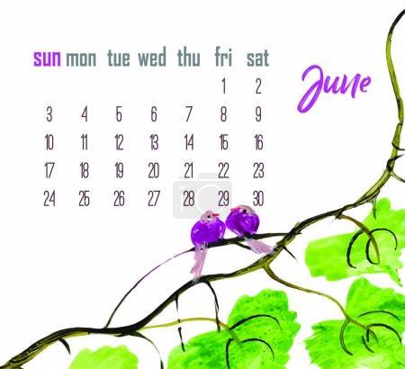 june  2018. Desk Calendar for 2018 Year.