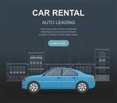 Rental car and Auto leasing banner Rental concept Responsive web design Flat design style concept