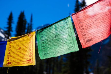 Photo for A string of colorful backlit Himalayan prayer flags - Royalty Free Image