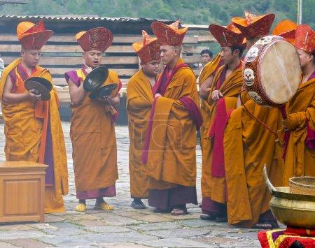 Monk ritual in Trashigang dzong - Bhutan