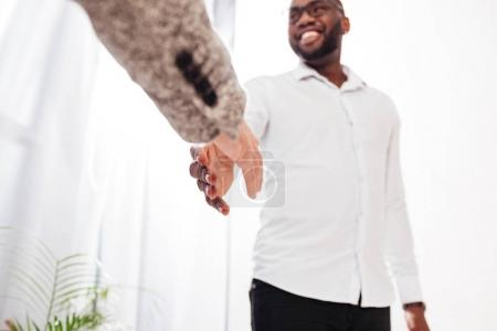 Close up photo of men business handshake in office isolated