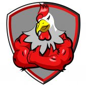 healthy red big muscle rooster in shield logo