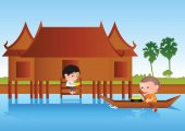 Big bubble head man cartoon give food to monk on boataround wit