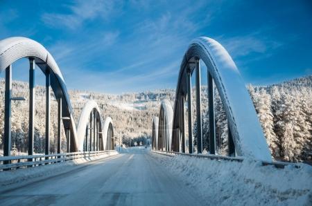 bridge covered with snow