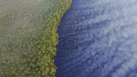 Photo pour Forêt brumeuse et lac durant le coucher de soleil, aerial view - image libre de droit