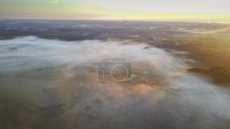 Photo pour Forêt brumeuse pendant le coucher de soleil, aerial view - image libre de droit