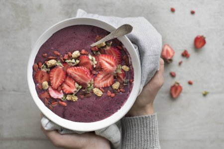 Photo for Female hands holding Acai Bowl - Royalty Free Image