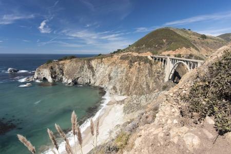 big bridge near seashore