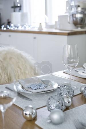 Christmas cutlery on Table