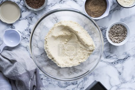 ingredients for cake on marble table