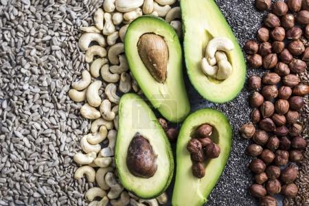 fresh avocado halves with nuts
