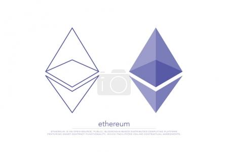 Illustration for Set of isolated ethereum icons. vector, cryptocurrency logo design. ether virtual coin logotype. blockchain tecnology based digital money symbol - Royalty Free Image