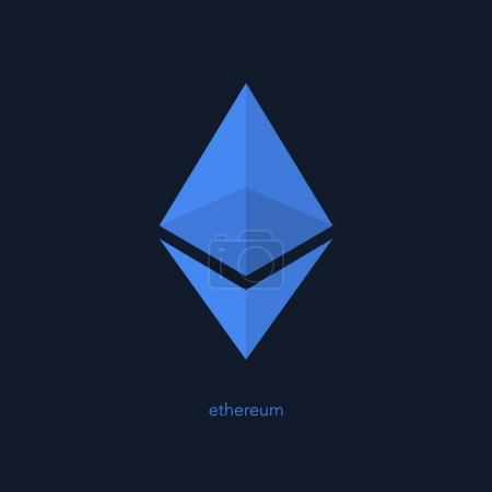 Illustration for Isolated ethereum icon. vector, cryptocurrency logo design. ether virtual coin logotype. blockchain technology based digital money symbol - Royalty Free Image