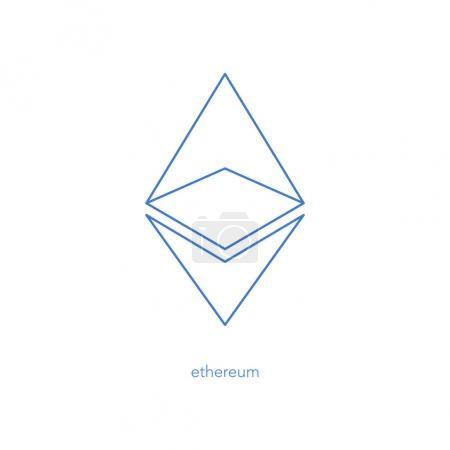 Illustration for Isolated ethereum linear icon. vector, cryptocurrency logo design. ether virtual coin logotype. blockchain technology based digital money symbol - Royalty Free Image