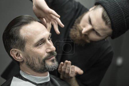 preparing for trimming in barbershop