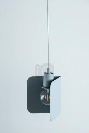Suspension lampe edison en métal gris-bleu