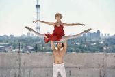 Ballet dancers posing outdoors
