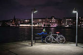 Night cityscape of Copenhagens embankment