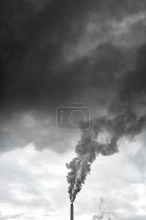 Steaming chimney of power plant