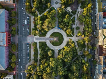 Photo for Taras Shevchenko Park  and National University in Kyiv. Top view panoramic photo. Horizontal. - Royalty Free Image