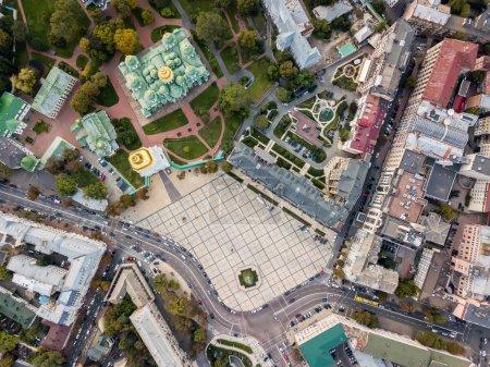 Photo pour Sophias cathédrale et des bâtiments autour d'elle à Kiev. Photo panoramique vue de dessus. Horizontal. - image libre de droit