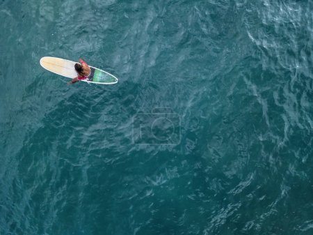 Aerial photo of surfer on board