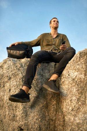 Traveler relaxing outdoors