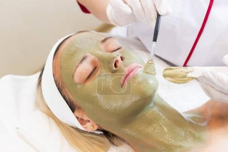Process cosmetic mask of massage and facials
